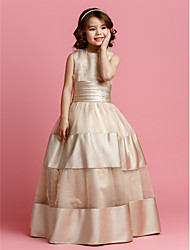 Ball Gown Floor-length Flower Girl Dress - Organza Satin Jewel with Beading Flower(s) Sash / Ribbon Ruching