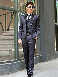 Dark Gray Polyester Slim Fit Two-Piece Tuxedo