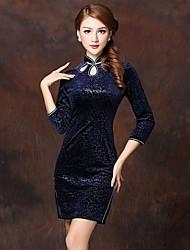 millésime velours haut de gamme des femmes frappe robe chinois