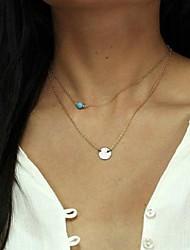 estilo europeo simples lentejuelas turquesa collar de doble capa de las mujeres