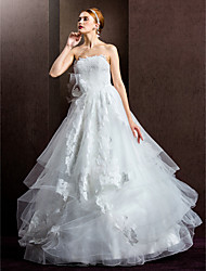 Ball Gown Wedding Dress - Ivory Floor-length Strapless Lace/Tulle