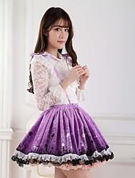Saia Doce Princesa Cosplay Vestidos Lolita Púrpura Estampado Lolita Comprimento Médio Saia Para Feminino Poliéster