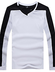 Men's V-Neck Solid Color Long Sleeved T-Shirt
