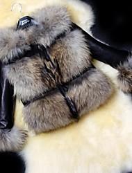 Women's Slim PU Leather Fur Jacket Fashion Fur Coat (More Colors)