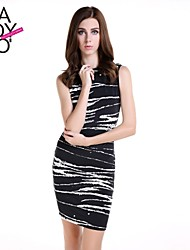 haoduoyi® Women's Sexy Pleated Painted Stripe Print Knitted Tight Dress