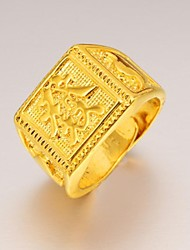 Fortune of Chinese Characters Men 24 K Gold Ring