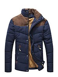 Wans Men's Long Sleeve Contrast Color Cotton Coat