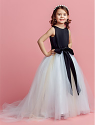 Ball Gown Sweep / Brush Train Flower Girl Dress - Satin Tulle Jewel with Bow(s) Sash / Ribbon
