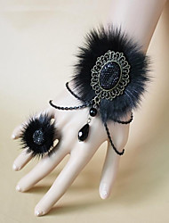 Steampunk®Gothic Black Fox Fur Halloween Bracelet & Ring