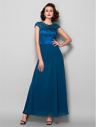 A-line Plus Sizes / Petite Mother of the Bride Dress - Ink Blue Ankle-length Short Sleeve Chiffon / Lace