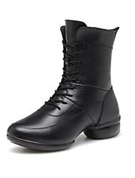 botas de la zapatilla de deporte de la danza de las mujeres de cuero reales tacón bajo transpirables con zapatos de baile de algodón (más colores)