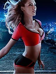 Women's Sexy Fashion black and Red Split Zipper Design Deep V Short Sleeve Push Up Swimsuit
