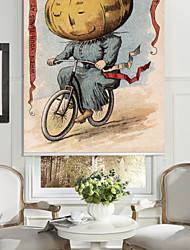 patate uomo in sella a una tonalità del rullo bici