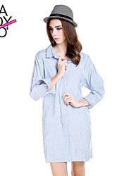 haoduoyi® Women's Blue And White Stripe Crowl Neck Invisible Buttons Soft Long Sleeve Shirt Dress