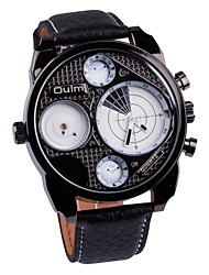 Men's Watch Military Dual Time Zones Quartz Leather Band(Assorted Colors)