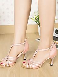 sandali delle donne latino tacco a spillo scarpe di strass raso ballo (più colori)