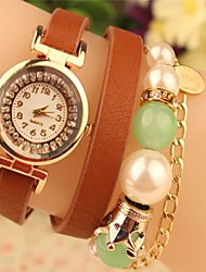 Women's Round Metal Chain Fashion Grand Pearl Leather Japanese Quartz Watch(Assorted Colors) Cool Watches Unique Watches