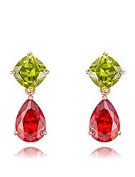 cadeaux roxi classique véritable mode de cristaux autrichiens les boucles d'oreilles de zircon rouge / vert goutte d'eau des femmes (1 paire)