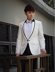 White&Black Solid Slim Fit Tuxedo In Polyester