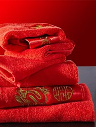 SenSleep® 2pcs Hand Towels Pack, Red Embroidery Festival Design for Wedding 100% Cotton Hand Towel