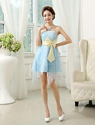 Tea-length Chiffon Bridesmaid Dress - Blushing Pink / Lilac / Sky Blue / White / Champagne A-line / Princess Sweetheart