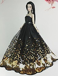 Barbie Doll Deluxe Black and Golden Sequin Wedding Dress