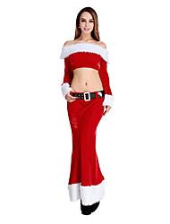 chica sexy de manga larga de terciopelo rojo de la mujer traje de la Navidad