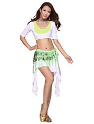 Belly Dance Dancewear Women's Modal&Fibre Tassels Elegant Pretty Outfits Including 2 Top, Skirt, Belt