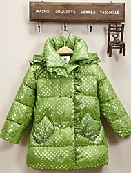 Girl's The new girl's down jacket long thickening in pure color warm feather coat
