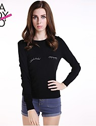 haoduoyi® Women's Eyelash Embroidery Round Collar Long Sleeve Slim Fitted Pullover Sweater