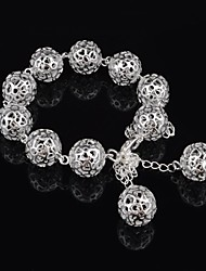 Woman's Fashion  Silver Plated Hollow Heart Ball Charm Bracelet