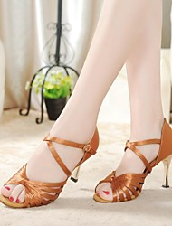Non Customizable Women's Dance Shoes Latin Satin Stiletto Heel Brown