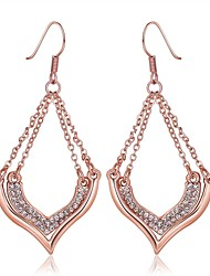 Fashion Diamante Chain Link Rose Gold Rose Gold-Plated Drop Earrings(Rose Gold)(1Pair)