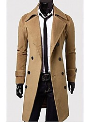 Rate Men's Lapel Neck Solid Color Trench Coat