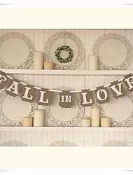 "Wedding Décor Romantic Vintage "" FALL IN LOVE""  Engagement Banner Photo Booth Props"