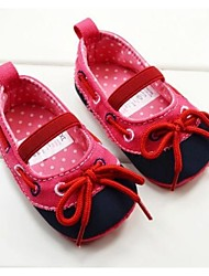Baby Shoes First Walker Flat Heel Cotton Flats with Lace-up and Gore Shoes