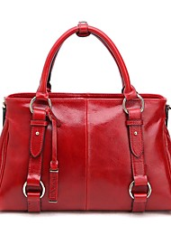 Women Cowhide Casual Tote Blue / Red