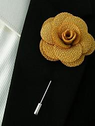 main polyester orange fleurs de revers boutonnière pour hommes