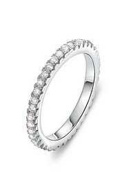 moda linha sinle das mulheres de zircão prateado anéis de instrução (1 pc)
