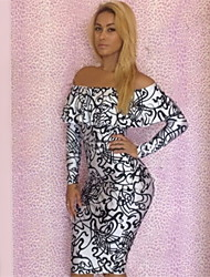 Topro Women Sexy Long Sleeve Off the Shoulder Vintage Printed Bodycon Bandage Dress YH003(Screen Color)