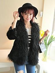 abrigos de piel de corderos de las mujeres chaqueta de piel de lana playa lana (más color)