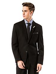 negro sólido traje de corte sartorial de lana