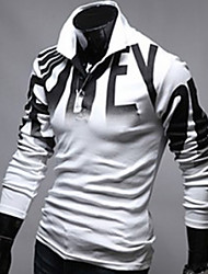 T-Shirts ( Mistura de Algodão ) MEN - Casual Colarinho de Camisa - Manga Comprida