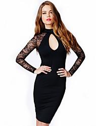 TOPRO Frauen alle Gleichspitze rückenfreie, figurbetontes Kleid ausgeschnitten