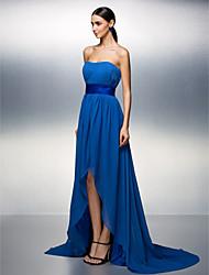 Prom / Formal Evening Dress - Royal Blue Plus Sizes / Petite A-line Strapless Asymmetrical Chiffon