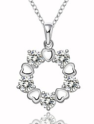 Fine Jewelry 925 Sterling Silver Jewelry Geometric Heart Shape with Zircon Pendant Necklace for Women