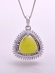 AS 925 Silver Jewelry  Olive green exquisite 11MM*11MM Triangle Pendant