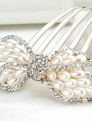 bowknot frizzante lussureggiante con grandi perle e strass pettini