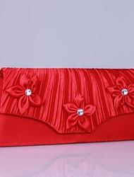 élastique sac à main de mariée en satin avec rosette florale