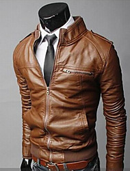 Martin Men's Fashion Fashion Causal Slim Stand Collar Short Type Leather Clothing
